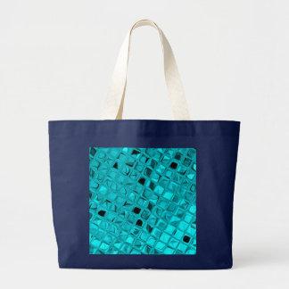 Shiny Metallic Girly Teal Diamond Navy Blue Tote Bags