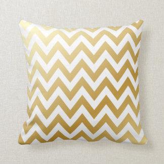 Shiny Metallic Gold Chevron Zigzag Stripe Pattern Cushion