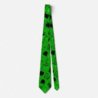 Shiny Metallic Green Diamond Mirrors Tie