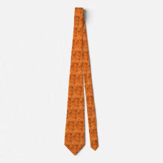 Shiny Metallic Orange Diamond Mirrors Tiled Tie