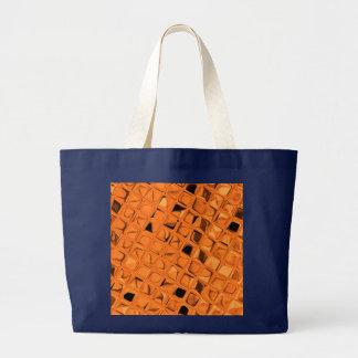 Shiny Metallic Orange Diamond Navy Blue Canvas Bags