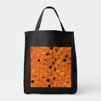 Shiny Metallic Orange Diamond Sassy Reusable Black Grocery Tote Bag