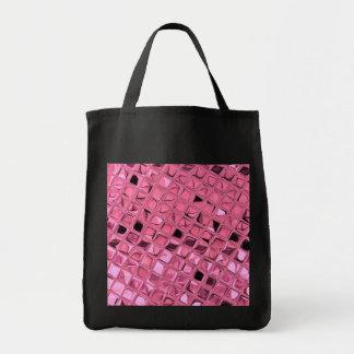 Shiny Metallic Pink Diamond Reusable Black Grocery Tote Bag