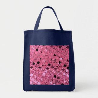 Shiny Metallic Pink Diamond Reusable Navy Blue Grocery Tote Bag