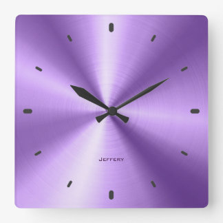 Shiny Metallic Purple Design-Stainless Steel Look Square Wall Clock
