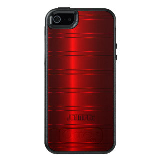 Shiny Metallic Red Stripes OtterBox iPhone 5/5s/SE Case