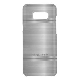 Shiny Metallic Silver Gray Horizontal Stripes Uncommon Samsung Galaxy S8 Plus Case