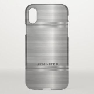 Shiny Metallic Silver Stripes iPhone X Case