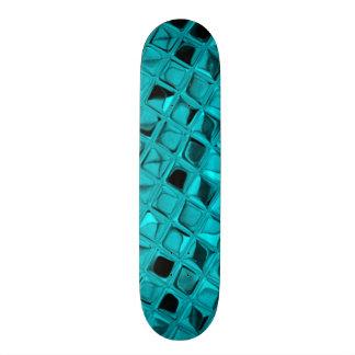Shiny Metallic Teal Diamond Faux Serpentine Skateboards