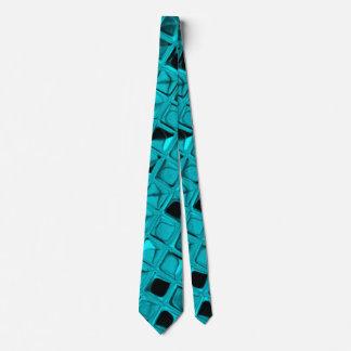 Shiny Metallic Teal Diamond Mirrors Tie
