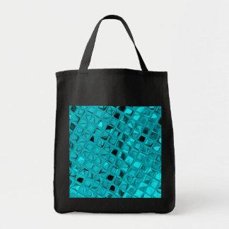 Shiny Metallic Teal Diamond Sassy Reusable Black Canvas Bags