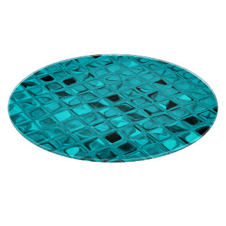 Shiny Metallic Teal Diamond Serpentine Cutting Board