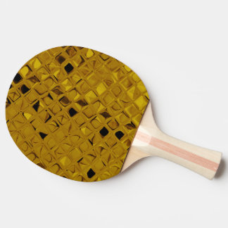 Shiny Metallic Yellow Gold Diamond Faux Serpentine Ping Pong Paddle