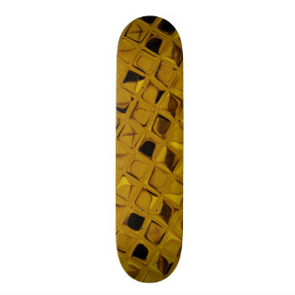 Shiny Metallic Yellow Gold Diamond Faux Serpentine Custom Skateboard