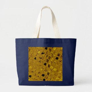 Shiny Metallic Yellow Gold Diamond Navy Blue Jumbo Tote Bag