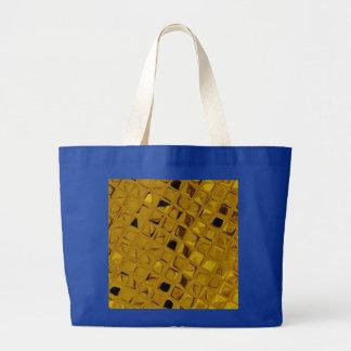Shiny Metallic Yellow Gold Diamond Royal Blue Jumbo Tote Bag