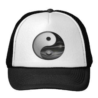Shiny Metallic Yin and Yang Symbol Hat