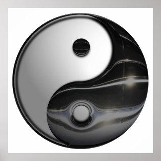 Shiny Metallic Yin and Yang Symbol Poster