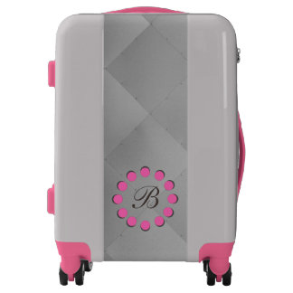 Shiny Modern Checkered Metal Tiles Pink Details Luggage