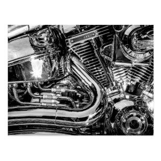 Shiny motorbike engine postcard