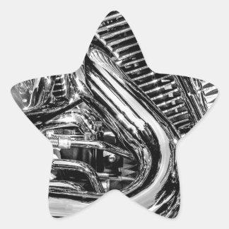 Shiny motorbike engine star sticker