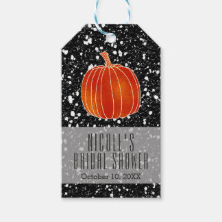 Shiny Orange Autumn Pumpkin Black Glitter Favor Gift Tags