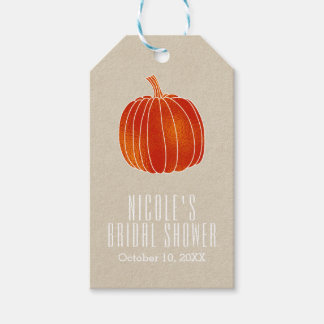 Shiny Orange Autumn Pumpkin Rustic Kraft Favor Gift Tags
