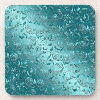 Shiny Paisley Turquoise Coaster
