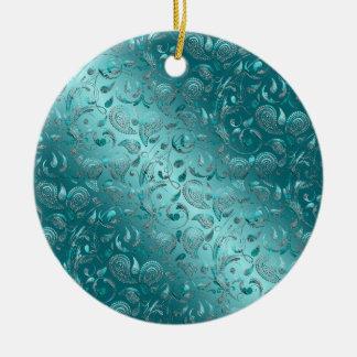 Shiny Paisley Turquoise Christmas Tree Ornaments