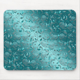 Shiny Paisley Turquoise Mouse Mat