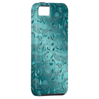 Shiny Paisley Turquoise Tough iPhone 5 Case
