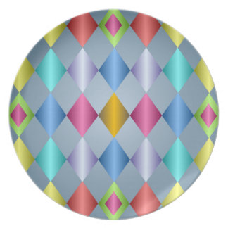 Shiny Pastel Diamond Pattern Plate