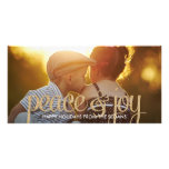 Shiny Peace & Joy Holiday Photo Card