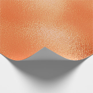 Shiny Peach Orange Glass Ice Glam Wrapping Paper
