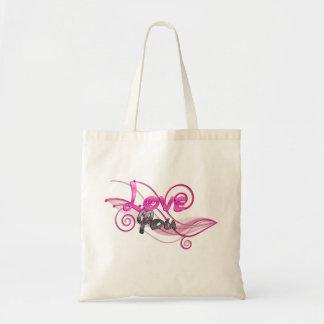 shiny pink love you swirl art tote bags