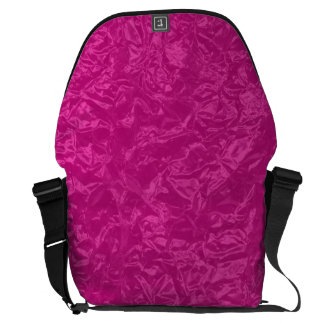 Shiny pink wrinkled texture messenger bag