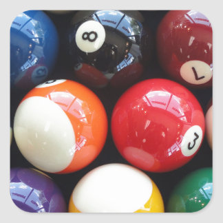 Shiny Pool balls close up Square Sticker