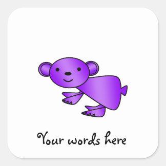 Shiny purple koala square sticker