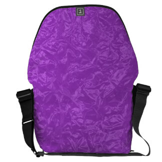 Shiny purple wrinkled texture messenger bag