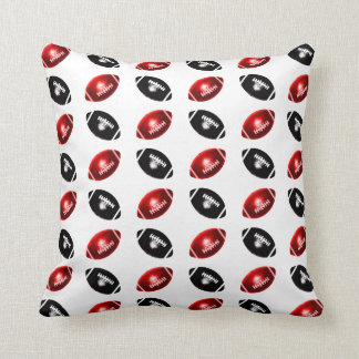Shiny Red and Black Football Pattern Cushion