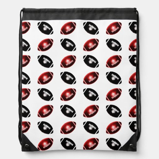 Shiny Red and Black Football Pattern Drawstring Bag