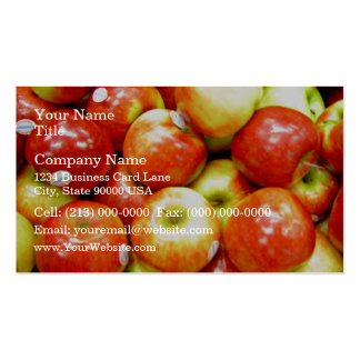 Shiny red apples business card