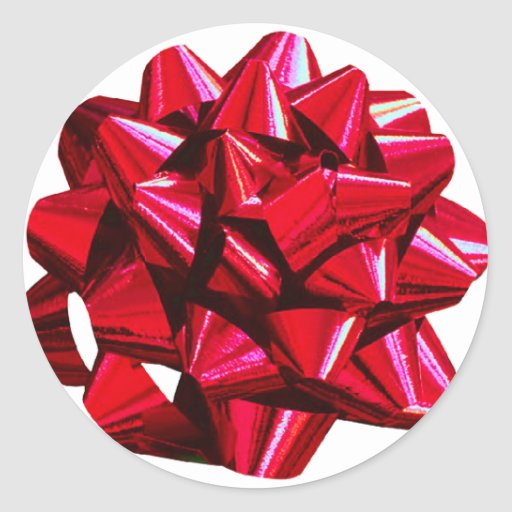 Shiny Red Bow Sticker