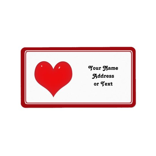 Shiny Red Heart of Love Label