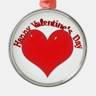 Shiny Red Heart Valentine Silver-Colored Round Decoration