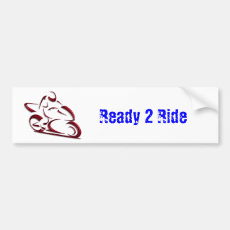 Shiny Red Metallic Motorcycle Racer Bumper Sticker