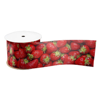 Shiny Red Strawberries Satin Ribbon