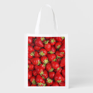 Shiny Red Strawberries Reusable Grocery Bag