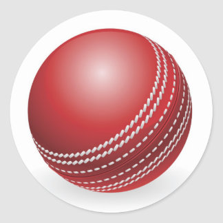 Shiny red traditional cricket ball round sticker