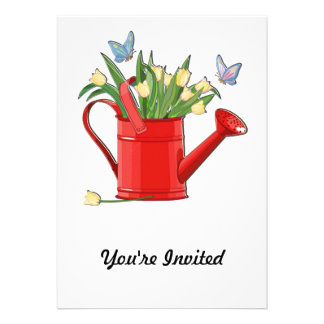 Shiny Red Watering Can with Yellow Tulips Custom Announcement
